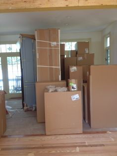 Cabinets have arrived! They fill the family room!