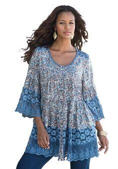 Illusion Lace Bigshirt by Denim 24/7 | Plus Size 3/4 Sleeve | OneStopPlus