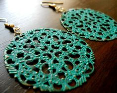 ARABESQUE-Large Trellis Antiqued Patina Round Lacy Filigree Metal Earrings