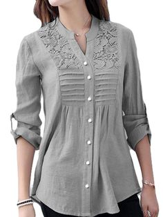 V Neck Patchwork Brief Lace Long Sleeve Linen Blouse Source by iberrylook New Blouse Designs, Kurti Neck Designs, Kurta Designs Women, Kurti Designs Party Wear, Designs For Dresses, High Neck Kurti Design, Blouse En Lin, Fashion Models, Fashion Outfits