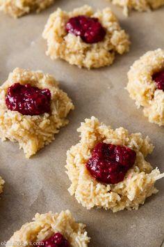 vegan coconut thumb print cookies with raspberry jam...gluten free