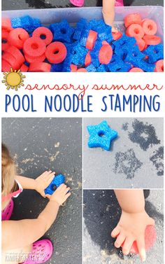 10 Ways to Play With Pool Noodles {Sensory Summer} - Stamping! This is the perfect outdoor activity for summer tot school, preschool, or kindergarten!
