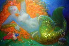 Mermaid by Victor Nizovtsev Victor Nizovtsev, Mermaid Tale, Mermaids And Mermen, Mosaic Diy, Diy Crystals, Oil Painters, Merfolk, Art Moderne, Art Plastique