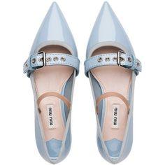 Miu Miu BALLERINA found on Polyvore featuring shoes, flats, обувь, flat shoes, footwear, strappy ballet flats, t-strap mary janes, t-strap flats, patent ballet flats and ballet shoes