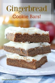 Gingerbread Cookie Bars! All the flavor of Gingerbread in an easy to bake bar cookie!