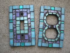 Mosaic outlet covers, these would be great accents for my master bedroom ideas! Mosaic Crafts, Mosaic Art, Mosaic Glass, Mosaic Tiles, Fused Glass, Glass Art, Glass Tiles, Switch Plate Covers, Light Switch Plates