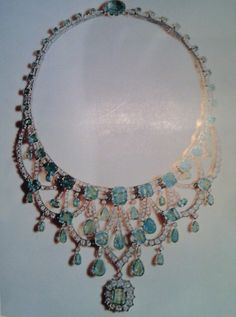 Princess Soraya,  wore this emerald and diamond necklace featured in our painting on her wedding to the Shah of Iran.,