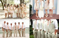 coarl and tan wedding color schemes | This is now. Neutrals/ tans/ beiges. Light grey/ light tan :)