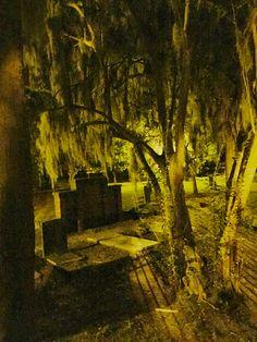 Colonial Park Cemetery after dark. Savannah, GA