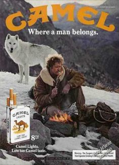 Camel Cigarettes Man On Mountain With Wolf