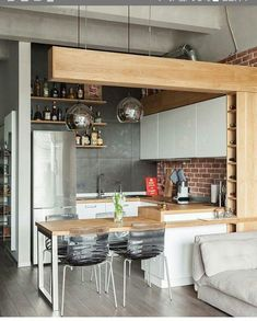 39 Dining Room Design Tips For Small Kitchen - Mia's Brilliant Ideas Apartment Kitchen, Home Decor Kitchen, Kitchen Living, Interior Design Kitchen, New Kitchen, Home Kitchens, Kitchen Ideas, Kitchen Inspiration, Loft Kitchen