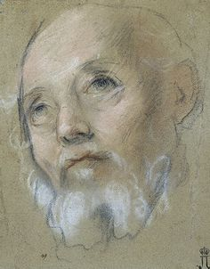 Study of a Man's Head with a Small Beard  Barocci, Federico.  Italian pencil, red chalk and pastel on paper. 23.4x18.3 cm  Italy. 1575-1579