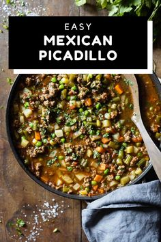 This easy Mexican Picadillo is based on my grandmother-in-law's original Picadillo recipe. The perfect busy weeknight dinner. Chock full of veggies and flavor. #picadillo #mexican Healthy Meats, Healthy Meat Recipes, Healthy Meal Prep, Healthy Cooking, Mexican Food Recipes, Real Food Recipes, Cooking Recipes, Healthy Dinners, Delicious Recipes