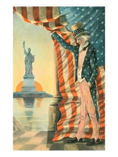 Postcard Patriotic Statue of Liberty Uncle Sam Copyright 1907 vintage Americana
