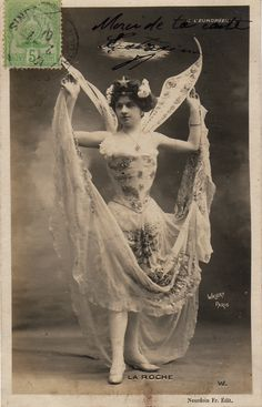Costumed dancer (?) on postcard, circa 1905. Via les2a on DeviantArt.