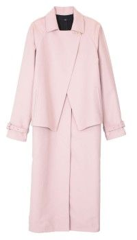 A modern twist on the classic trench coat. Dusty pink adds the perfect feminine touch and just a hint of color. Tibi pre-spring 2015.