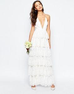vestido de noiva barato low cost da asos estilo hippie boho chic com decote em bico 1