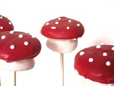 Mushroom cake pops (but made mini cupcakes, not crumbled cake mixed with canned frosting!).