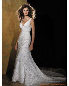 Schlankes Brautkleid 2013 aus Satin V-Ausschnitt verziertes Korsett und Rock mit Schleppe