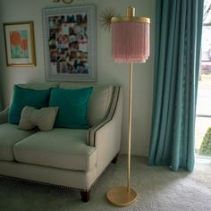 Decor Therapy Framboise in. Gold Floor Lamp with Fringe Lamp Shade Decor Therapy Framboise Gold Floor Lamp, Floor Lamp With Shelves, Unique Floor Lamps, Vintage Floor Lamps, Chandelier Shades, Lamp Shades, Pipe Lamp, Stores, Living Room Decor