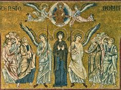 The Ascension of Christ. Monreale (Sicily) (IT) Medieval Paintings, Byzantine Art, Byzantine Mosaics, Church Building, Historical Art, Adam And Eve, Orthodox Icons, Sacred Art, Ancient Art