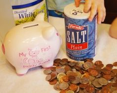 Cleaning Money: Sensory Science Activity - dip rags in vinegar and salt, then scrub the coins.