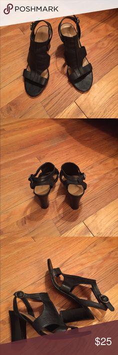 Franco Sarto Sandals Franco Sarto Black Leather Sandals with 3.5 inch heel Franco Sarto Shoes Sandals