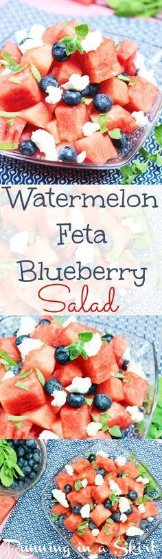 Watermelon Salad with feta and blueberries recipe.  With honey lime dressing and mint.  The best simple and easy salad for summer parties.  Perfect red, white and blue food idea for 4th of July Food, Memorial Day or Labor Day.   Healthy, fun and oh so sweet! / Running in a Skirt