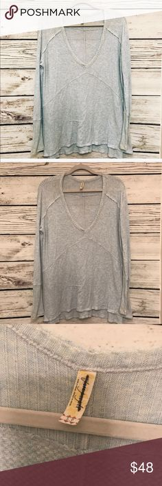 Free People Sunset Thermal Powder Blue Small Excellent condition, never been worn. So soft and such a beautiful color! Free People Tops Tees - Long Sleeve