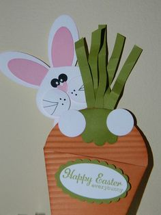 "Hi Everyone! Here's another way to use the Petal Cone 121810 die...as a carrot! So cute for Easter or leave off the bunny and tuck in a packet of seeds for a gardener gift! Get out your punches and here's what you'll need: Carrot: Petal Cone Die for the Big Shot Crimper 101618 1-3/4"" Scallop Circle 119854 Peach Parfait card stock 119794 Cajun Craze ink 119671 Lucky Limeade card stock 122926 Lucky Limeade ink 122935 Sponge Dauber102892 Sticky Strip 104294 Tombo Multipurpose Glue 110755 Stamp…"