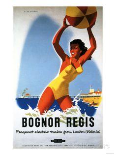 Bognor Regis, England - British Railways Girl and Beachball Poster Art Print by in Home, Furniture & DIY, Home Decor, Wall Hangings | eBay