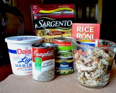 So easy and yummy Comfort Chicken and Rice casserole with Ricearoni. My family loves this !