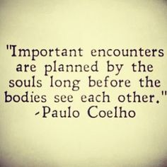 """Paulo Coelho soul mate quote: """"Important encounters are planned by the souls long before the bodies see each other."""" Description from pinterest.com. I searched for this on bing.com/images"""