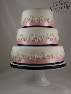Blossom - 3 tier Wedding cake - Navy blue & pink theme, with delicate blossoms.