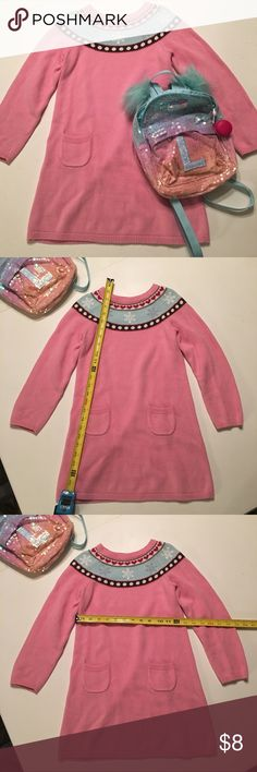 Girls adorable sweater dress w/bling! 😃🤗 sz7-8 Supacute and warm dress. I believe to be gap or Gymboree.  I purchased at consignment and labels have been removed.  Fits girls 7-8  or tall girl 6x, but size 7-8 recommended. Measurements in pix.  Each flake has a clear bead so some sparkle. Very clean  w/plenty life left. Some fade (barely, but I'm picky so noting) at edges of pockets.  Very sweet little winter dress 😊☃️❄️ Dresses Casual