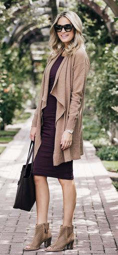 #summer #outfits Beige Cardigan + Purple Dress + Beige Open Toe Booties