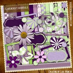 Lavender Essentials Digital Scrapbook Kit  http://scrapdebris.com/shop/index.php?main_page=product_info=21_id=24  Flower, lavender, green, purple, heart, tag, embroidered