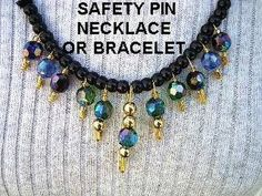 How to make a safety pin bracelet or necklace,  diy, jewelry making, easy jewelry, repurpose, recycle, costume jewelry, beading, beads,     GET YARN AND HOOKS HERE: http://hectanoogapatterns.blogspot.ca/p/yarn-and-hooks.html    Get My FREE Crochet Stitches Ebook:    http://hectanoogapatterns.blogspot.com/2012/09/free-crochet-ebook-featuring-emi-from....