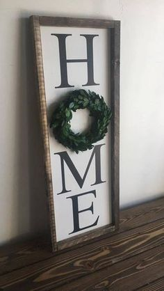 I love these kinds of signs, especially the boxwood wreath! Home Farmhouse Sign with preserved boxwood wreath Farmhouse Signs, Farmhouse Decor, Farmhouse Style, French Farmhouse, Farmhouse Ideas, Country Decor, Living Room Remodel, Living Room Decor, Boxwood Wreath