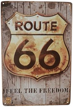 USA Route 66 Feel Freedom Car Gas Tin Sign Bar Cafe Diner Garage Wall Decor Retro Metal Art Poster