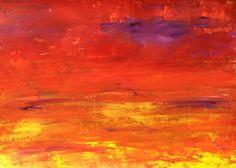 Landscape Study XXV. 30cm x 21 cm (A4). Oil on art paper.  #landscape #sky #sunset #red #fire #yellow #abstractart #abstractpainting #eveningsky #emotionalart