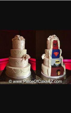 Wedding Cake Topper - HEART, Wedding Cake Decoration by AntoArts - Ideal Wedding Ideas Cake Superhero, Superhero Wedding Cake, Batman Wedding Cakes, Marvel Wedding, Cool Wedding Cakes, Elegant Wedding Cakes, Wedding Cake Designs, Comic Wedding, Wedding Stuff