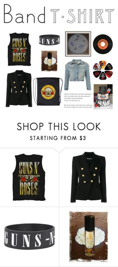 """Untitled #190"" by susy-1697 ❤ liked on Polyvore featuring Balmain, Sharpie, bandtshirt and bandtee"