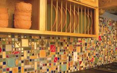 ceramic tile mosaic back splash by Clay Squared to Infinity. Amazing!