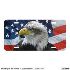 Bald Eagle American Flag License Plate - Car Floor Mats and Automobile Accessories
