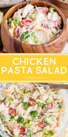 Chicken pasta salad is full of protein, veggies and a creamy dressing. A real crowd and family favorite, it's a perfect warm weather dinner.