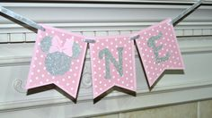 Pink and Silver Minnie Mouse One banner, Happy Birthday Banner, High Chair…