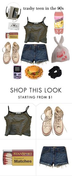 """""""TRASHY Gurl"""" by johnnybeans ❤ liked on Polyvore featuring Converse, Hollister Co. and CASSETTE"""