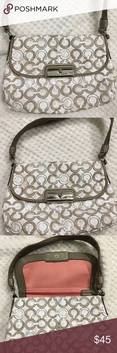 """Authentic small Coach Handbag Beautiful authentic Coach handbag. Small in size as in 11"""" in length from handle. Great shoulder purse or small purse for a night out. Extra bling (sequins) on some of the C's. Color is tan/gold with cream. Mark on inside lining but no visible wear on outside. Coach Bags Shoulder Bags"""