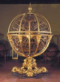 This enormous armillary sphere, more than 3 metres in height, was begun on 4 March 1588 and completed on 6 May 1593. It was constructed on the commission of Ferdinando I by his 'master of the Sphere', Antonio Santucci di Pomarance. At the centre of the sphere is the terrestrial globe, surrounded by seven planetary spheres and a sphere of the fixed stars bearing the zodiac band... a ninth, known as the Primum mobile, which is fixed and bears the polar caps and the meridians
